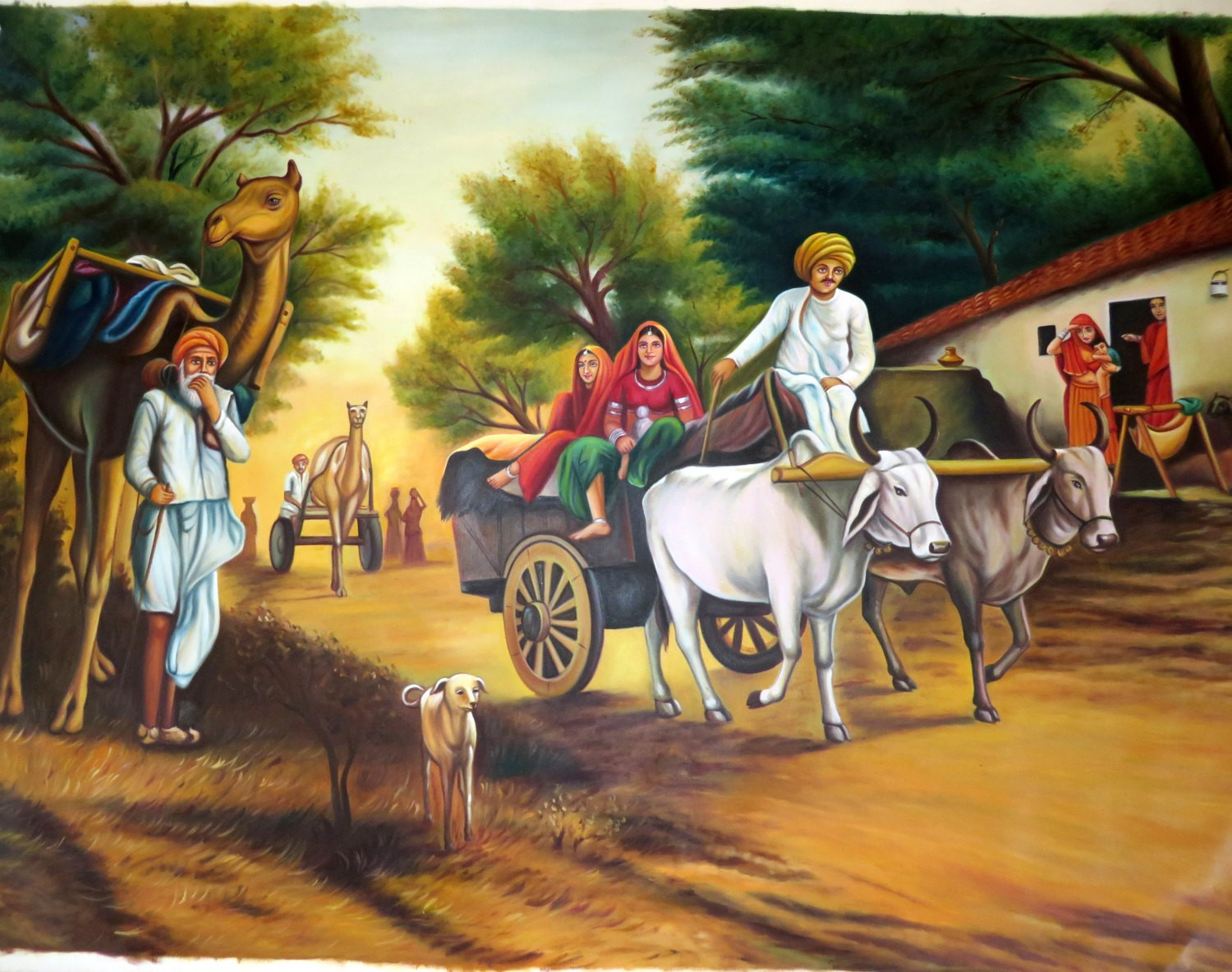 Folks on Bullock cart and Camel