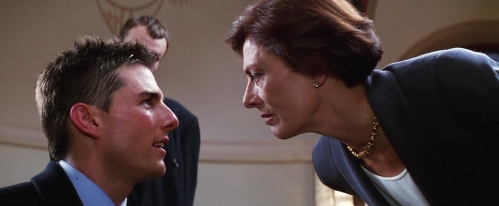 Tom Cruise facing a lady character in film Mission Impossible